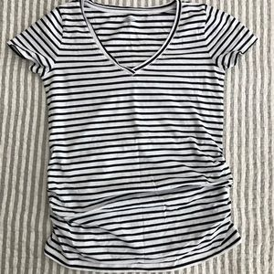 Black white stripe T-shirt maternity